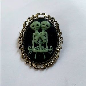Conjoined Twin Skeleton Cameo Brooch